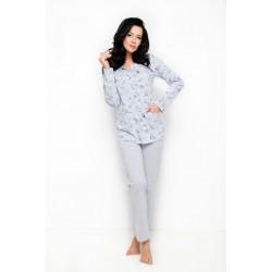 Памучна дамска пижама в сив цвят