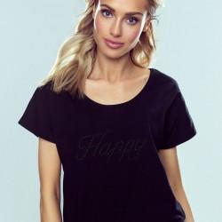 Черна дамска тениска Happy