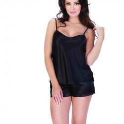 Сатенена дамска пижама в черен цвят