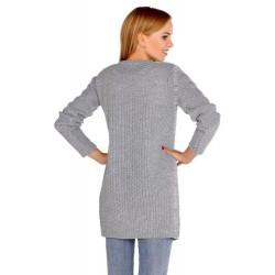 Дълга дамска жилетка в сиво Anionees