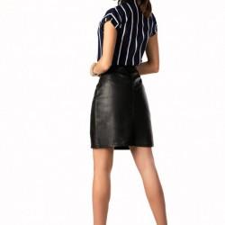 Кожена пола с висока талия в черно