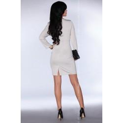 Елегантна миди рокля в сив цвят Bilyana