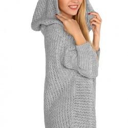 Дамска жилетка с качулка в сиво Dalena