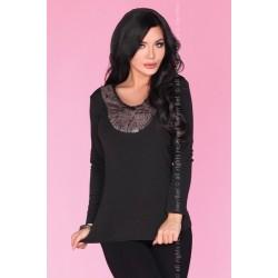 Дамска блуза с пух в черно CG019