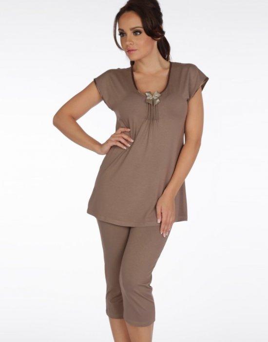 Дамска пижама в цвят мока 884, De Lafense, Пижами - Modavel.com
