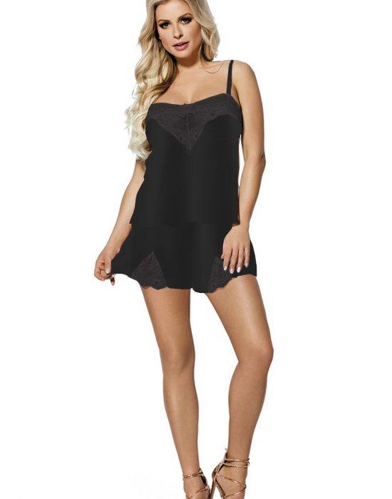 Дамска луксозна пижама от сатен в черно Zala, DKaren, Пижами - Modavel.com