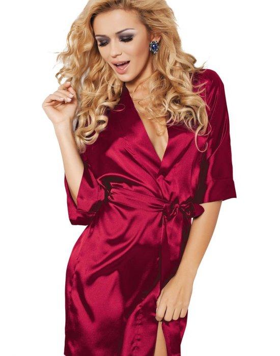 Къс сатенен халат в червен цвят, DKaren, Секси Халати - Modavel.com