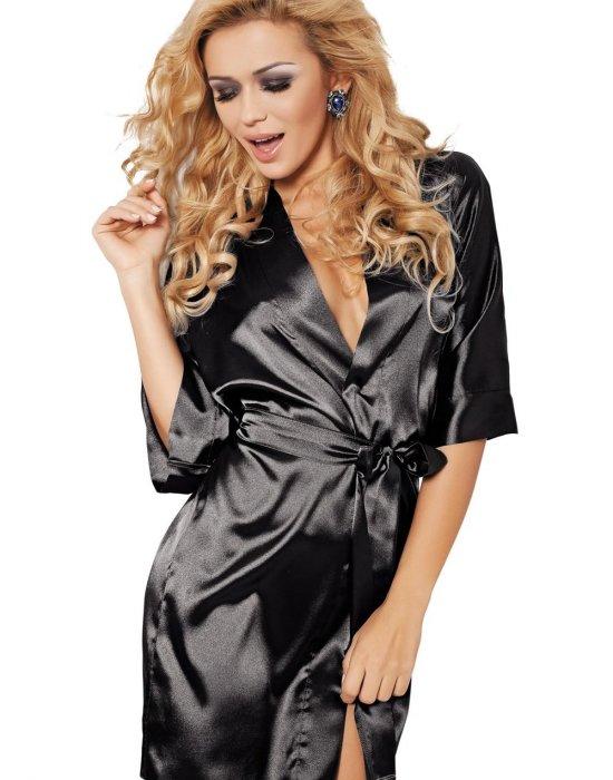 Секси сатенен халат в черен цвят Podomka, DKaren, Секси Халати - Modavel.com