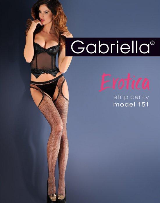 Черен мрежест жартиерен колан с чорапи Erotica 15 DEN, Gabriella, Чорапи - Modavel.com
