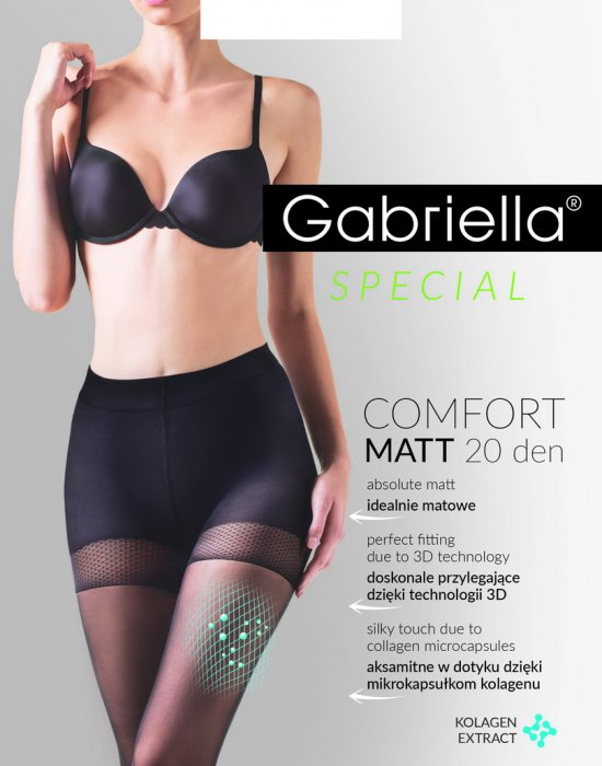 Черен чорапогащник Comfort Matt 20 DEN, Gabriella, Чорапогащи - Modavel.com