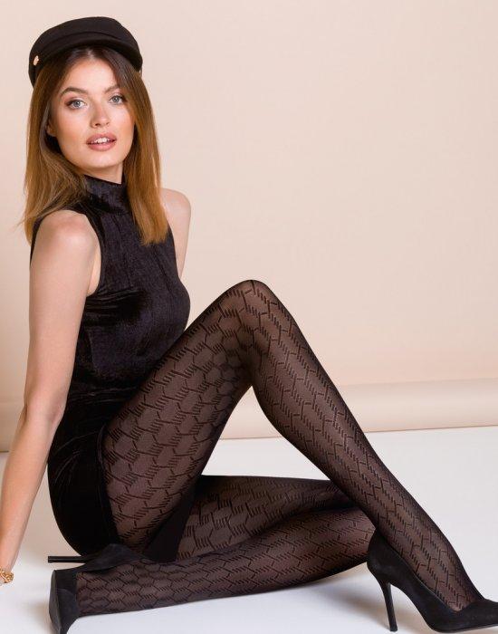 Чорапогащи с ефектни шарки в черен цвят Lema