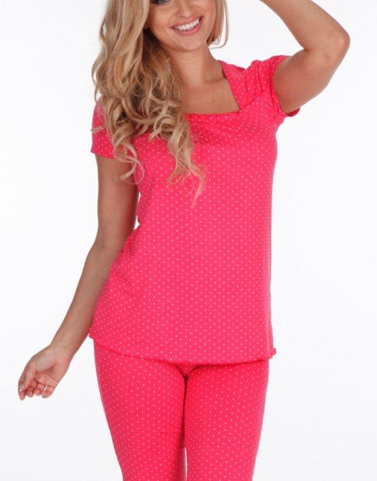 Дамска пижама на точки в цвят малина 527, De Lafense, Пижами - Modavel.com