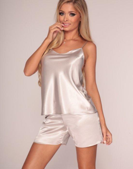 Сатенена дамска пижама в розов цвят, De Lafense, Пижами - Modavel.com