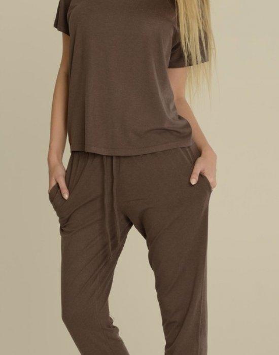 Дамска пижама в цвят мока Paula 524, De Lafense, Пижами - Modavel.com