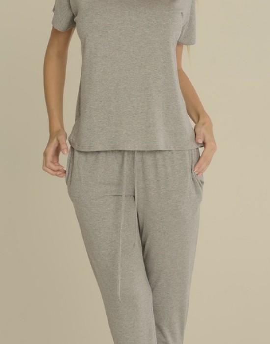 Дамска пижама в сив цвят Paula 524, De Lafense, Пижами - Modavel.com