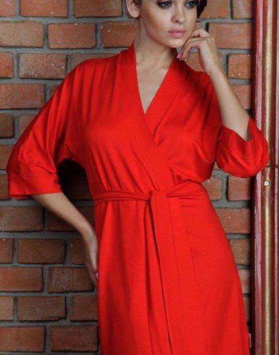 Дамски халат Visa в червен цвят, De Lafense, Халати - Modavel.com