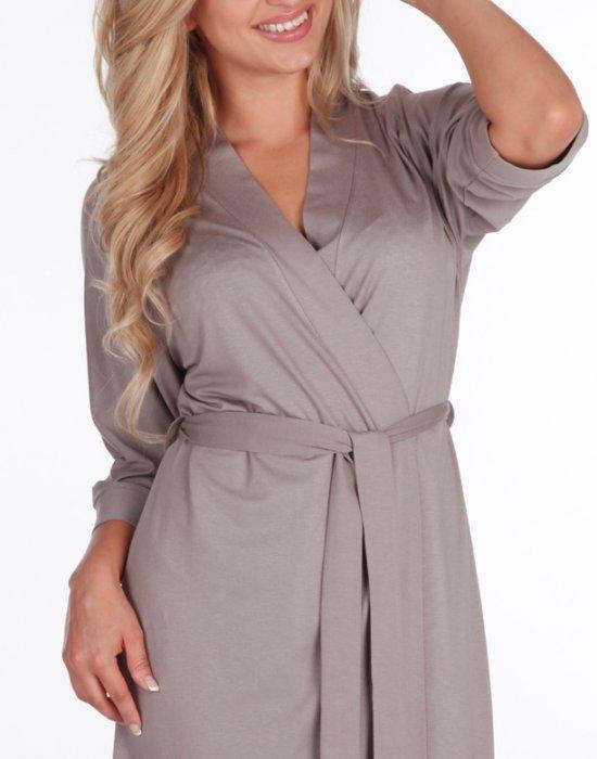 Дамски халат Visa в цвят мока, De Lafense, Халати - Modavel.com
