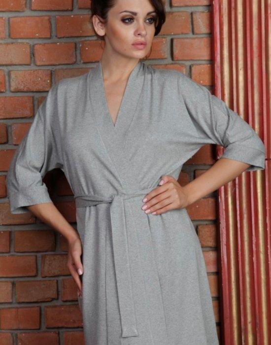 Дамски халат Visa в сив меланж, De Lafense, Халати - Modavel.com