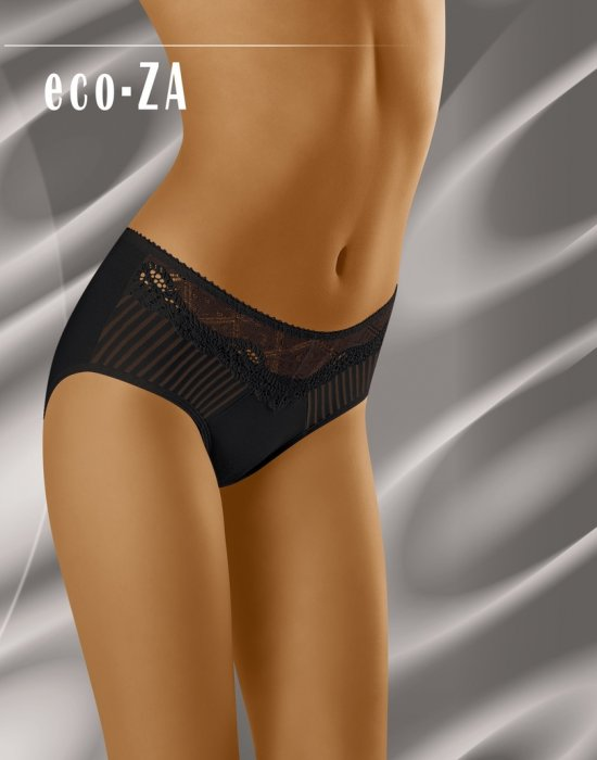 Гладки бикини с дантела в черен цвят Eco-Za, Wolbar, Бикини - Modavel.com
