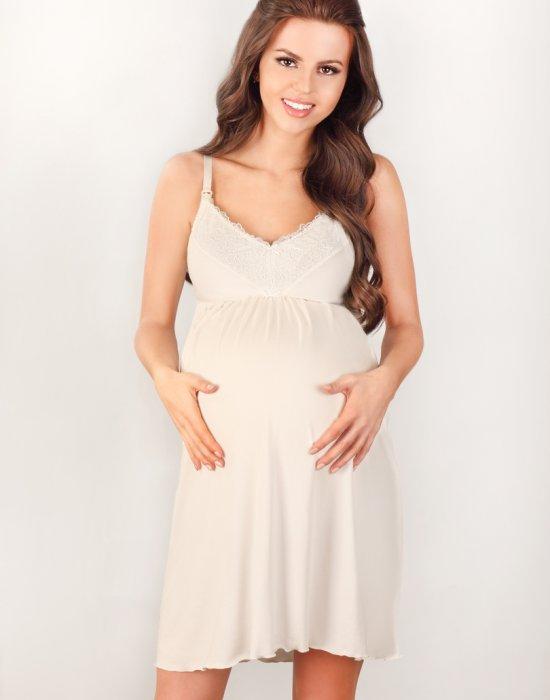 Нощница за бременни в цвят екрю 3022, Lupoline, Нощници - Modavel.com