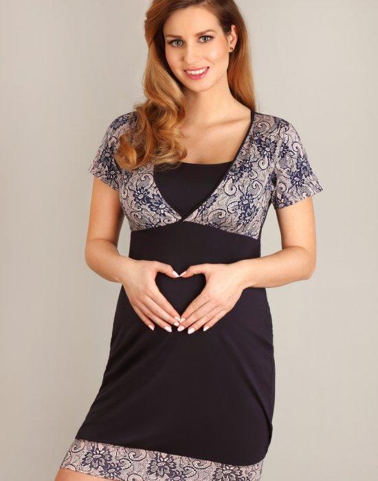 Нощница за бременни в тъмносин цвят 1676, Lupoline, Нощници - Modavel.com