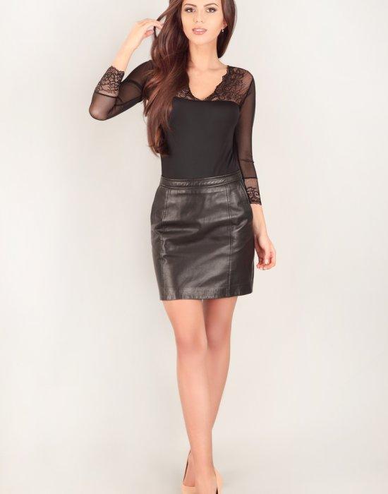 Боди с 3/4 ръкав в черен цвят 205, Lupoline, Бодита - Modavel.com