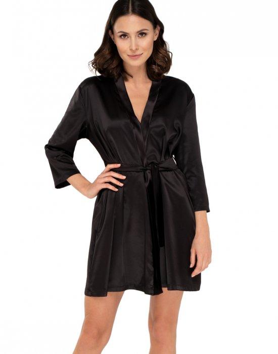 Сатенен халат в черен цвят Anette, Babella, Халати - Modavel.com