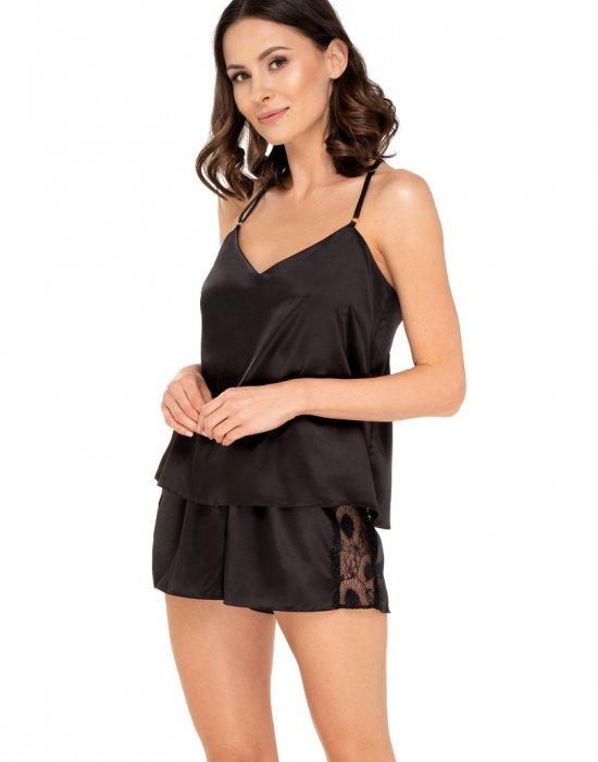 Сатенен комплект в черен цвят Anette, Babella, Пижами - Modavel.com