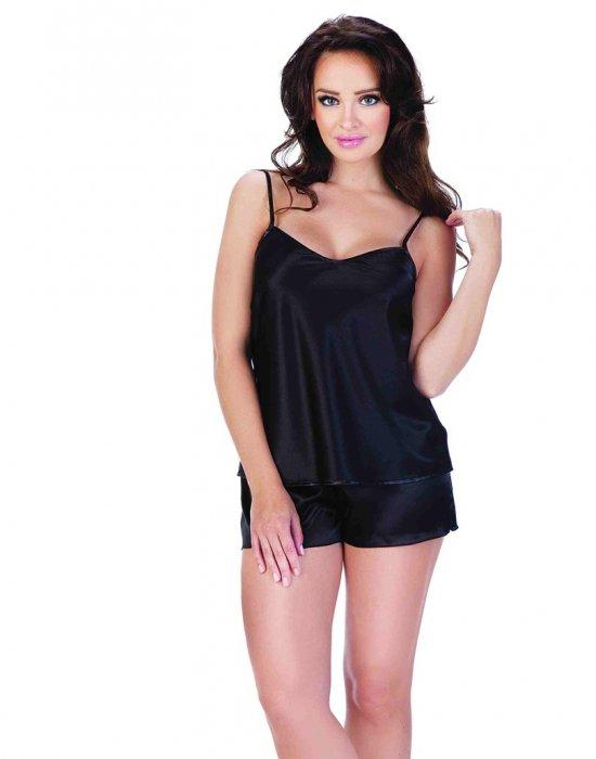 Сатенена дамска пижама в черен цвят, De Lafense, Пижами - Modavel.com