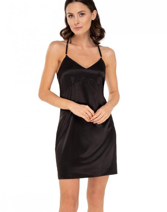 Сатенена нощница в черен цвят Anette, Babella, Нощници - Modavel.com