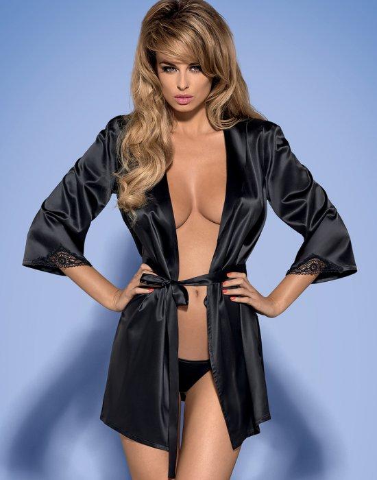 Секси халат с прашки в черен цвят Satinia, Obsessive, Секси Халати - Modavel.com