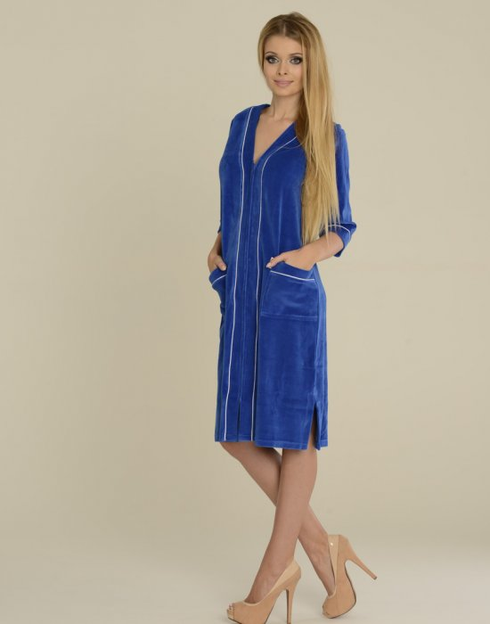 Син дамски халат в големи размери 352, De Lafense, Халати - Modavel.com