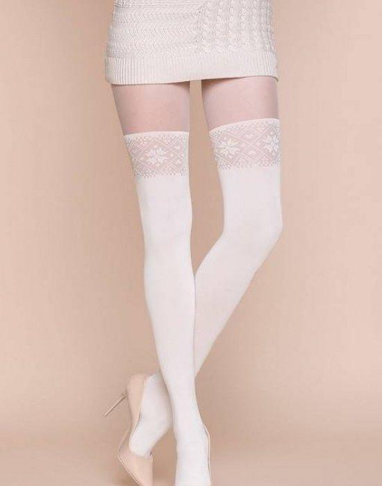 Чорапогащи имитиращи чорапи в цвят екрю Palo
