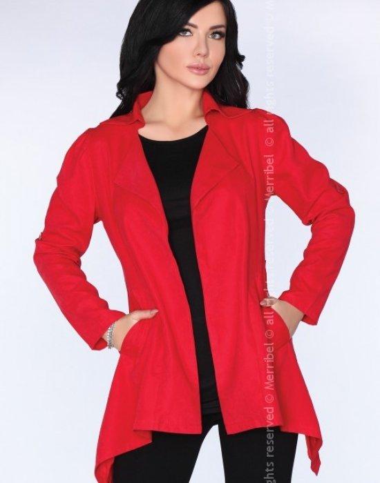 Асиметрично дамско сако в червено CG026, Merribel, Връхни - Modavel.com