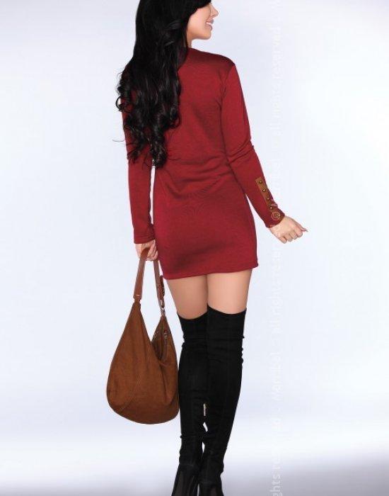 Ежедневна мини рокля в цвят бордо CG002, Merribel, Къси рокли - Modavel.com