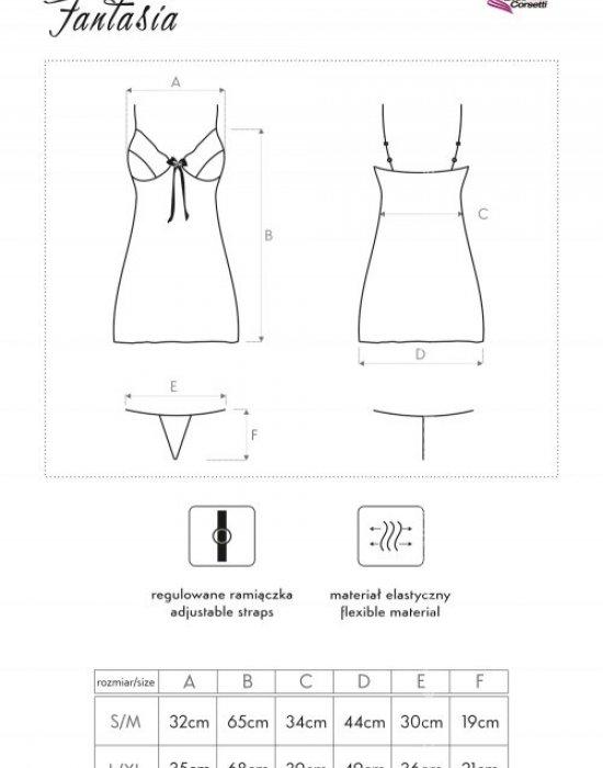 Секси нощница с прашки Fantasia, LivCo Corsetti Fashion, Комплекти - Modavel.com