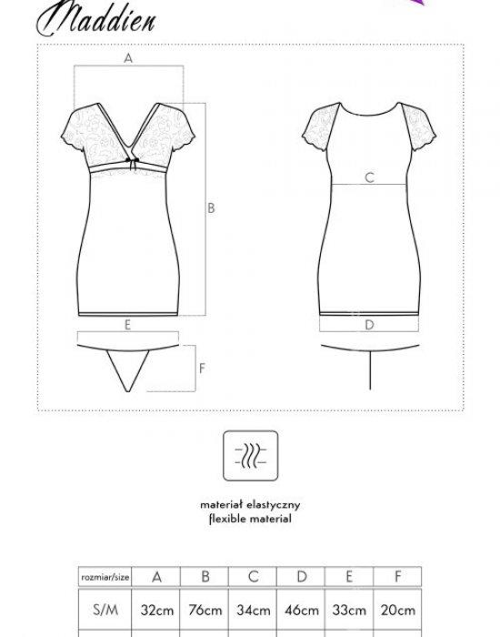 Секси нощница с прашки в черно Maddien, LivCo Corsetti Fashion, Комплекти - Modavel.com