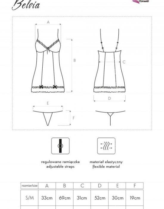 Еротична прозрачна нощница с прашки Belvia, LivCo Corsetti Fashion, Комплекти - Modavel.com