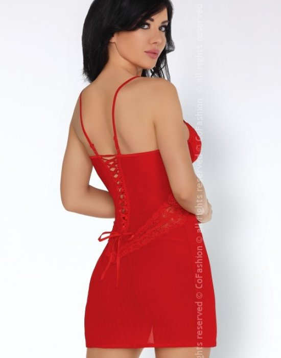 Секси нощница с прашки в червено Lyndsay, CoFashion, Комплекти - Modavel.com