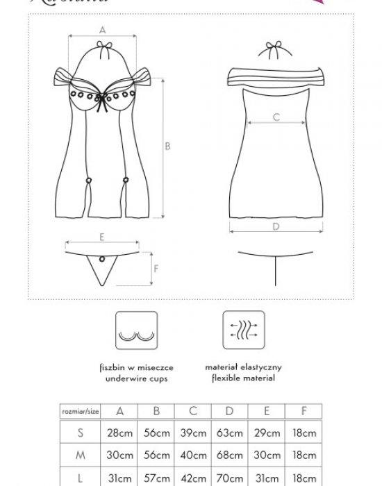 Секси нощница с прашки в черно Kastalia, LivCo Corsetti Fashion, Комплекти - Modavel.com