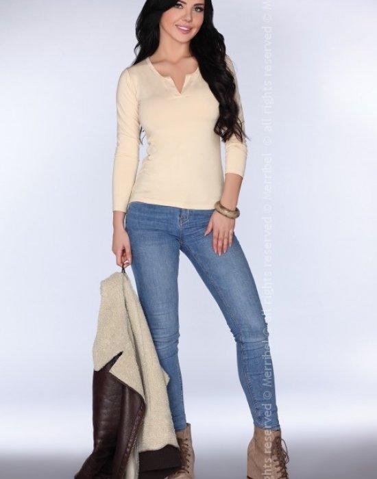 Елегантна дамска блуза в бежов цвят CG011, Merribel, Блузи / Топове - Modavel.com
