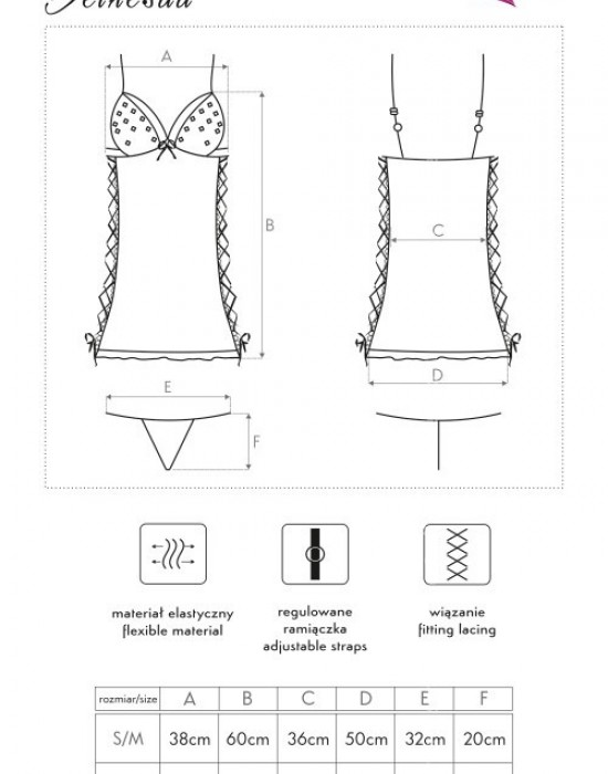 Еротична нощница с прашки Bethesda, LivCo Corsetti Fashion, Комплекти - Modavel.com