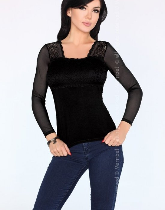 Дамска блуза с ръкави от тюл Halima, Merribel, Блузи / Топове - Modavel.com