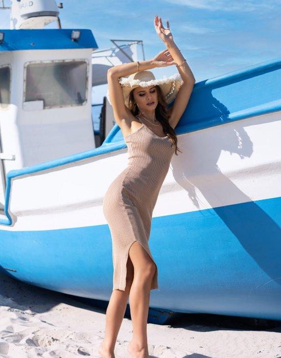 Миди рокля в бежов цвят Ocyanna