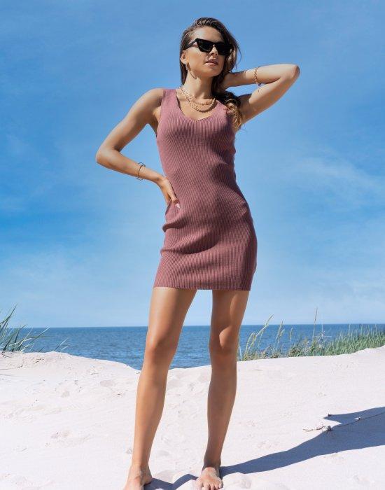 Къса рокля в цвят кафе Rosimna