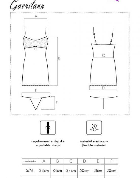 Еротична нощница с прашки в черно Gavrilann, LivCo Corsetti Fashion, Комплекти - Modavel.com