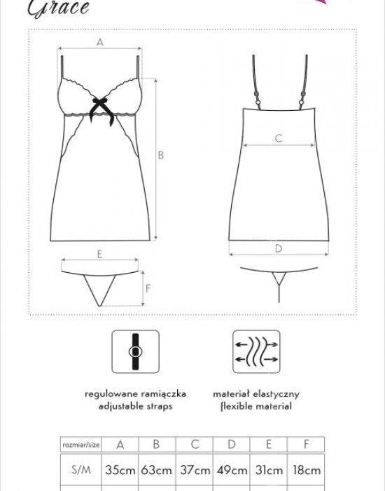 Еротична нощница с прашки в черно Grace, LivCo Corsetti Fashion, Комплекти - Modavel.com