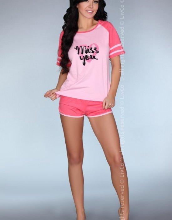 Лятна памучна пижама в розово Ejiroma, LivCo Corsetti Fashion, Пижами - Modavel.com
