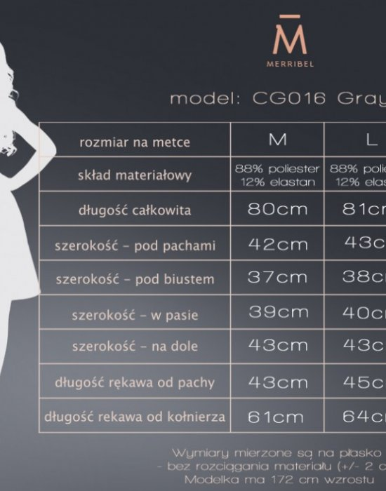 Елегантна мини рокля в сиво CG016, Merribel, Къси рокли - Modavel.com