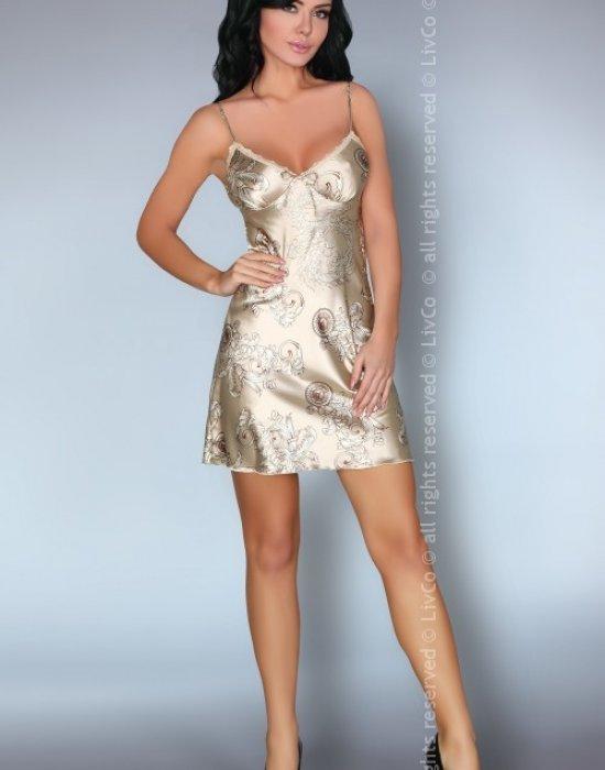 Сатенена нощница в кремав цвят Dragana, LivCo Corsetti Fashion, Нощници - Modavel.com